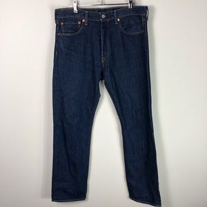 Levi's 501 Straight Leg Dark Wash Button Fly Jeans